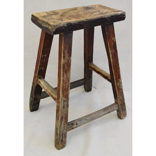Rustic Primitive Country Wood Farmhouse Stool - Image 8 of 11