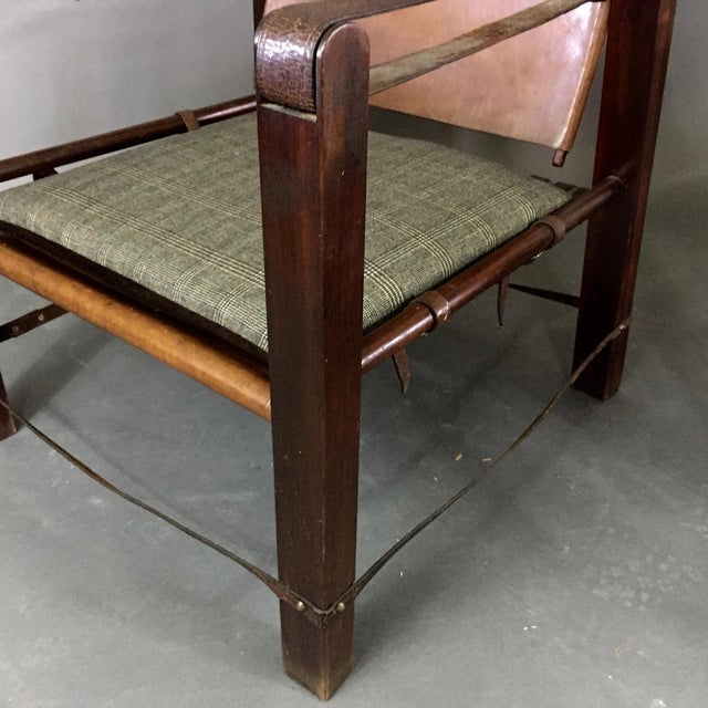 Brown American Mid-Century Safari Chair, Reversible Seat Cover For Sale - Image 8 of 13
