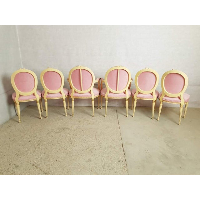 French Set of 6 Antique French Louis XVI Restored in Pink Dining Chairs 2 Armchairs 4 Side Chairs For Sale - Image 3 of 13