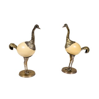 Pair of Ostrich Egg and Pewter Bird Sculptures by Franco Lagini For Sale