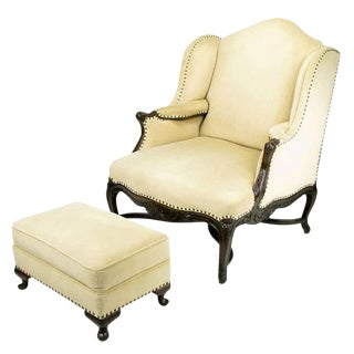 1940s Regence Wingback Chair an Ottoman in Camel Velvet For Sale