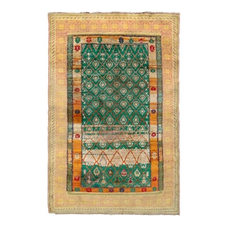 Hand-Knotted Antique Agra Rug in Green and Yellow Geometric Pattern For Sale