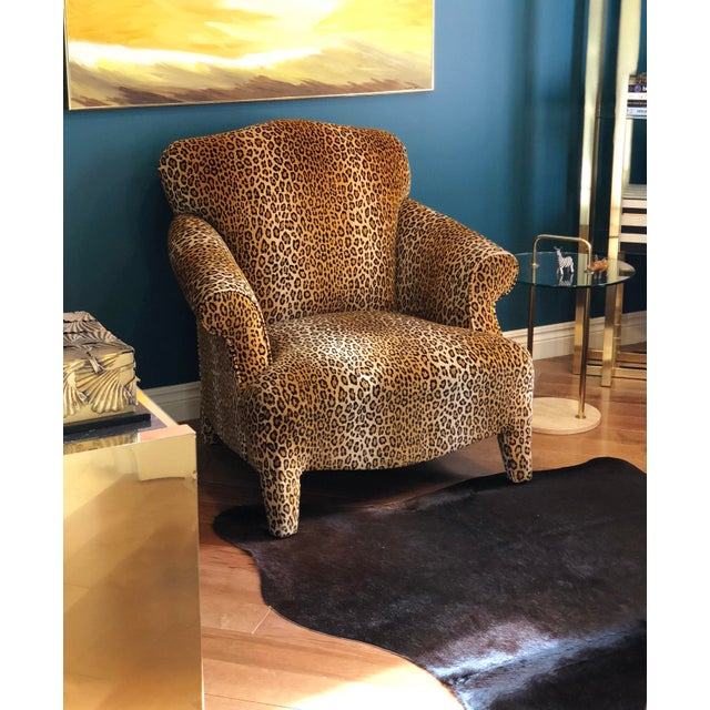 1980s Hollywood Regency Cheetah Roll Arm Chair For Sale In Detroit - Image 6 of 9