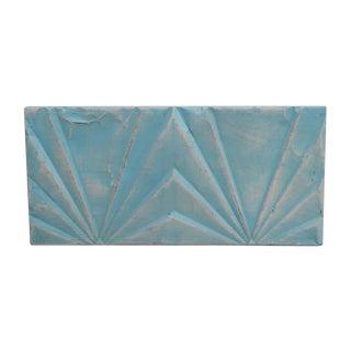 Antique Deco Sky Blue Tin Rectangular Panel For Sale
