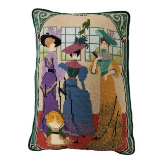 Vintage Handmade Needlepoint Victorian Style Society Ladies Image Pillow 10x15 For Sale