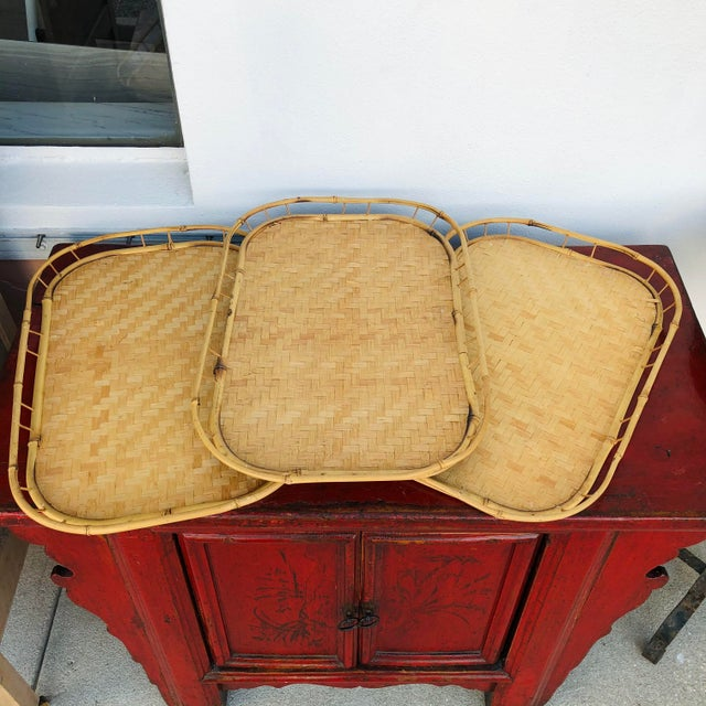 Vintage Mid Century Rattan Serving Trays - Set of 3 For Sale - Image 12 of 12