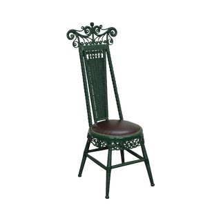 Antique Victorian Wicker High Back Side Chair For Sale