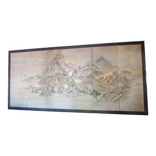 19th Century Japanese Painted Screen For Sale