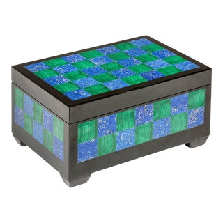 Jewelry Box, Malachite, Lapis and Onyx Box For Sale