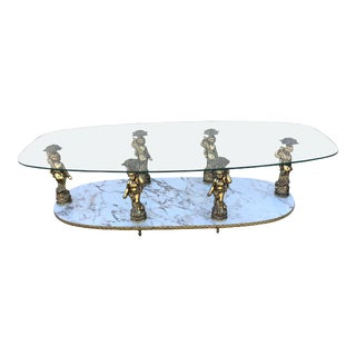 Hollywood Regency Cherub Coffee Table For Sale