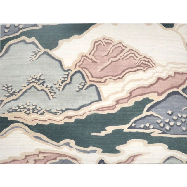 A lovely serene landscape painting on raw silk in a lucite-box frame, Japanese, c1950s. I love modern aesthetic with the...