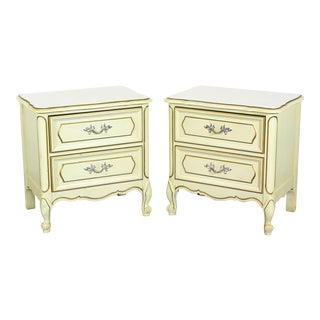 Pair of French Provincial Nightstands, Pair of Cream Nightstands, Pair of Mid Century Nightstands For Sale