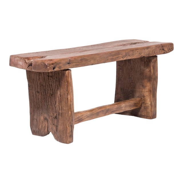 Provincial Chinese Reclaimed Elm Bench For Sale