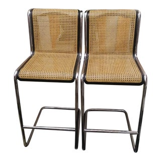 A Pair Mid Century Modern Chrome Cane Marcel Breuer Cantilevered Bar Stools For Sale