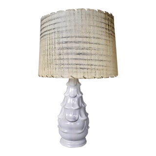 Mid-Century Ceramic White Artichoke Lamp With Retro Fiberglass Shade For Sale