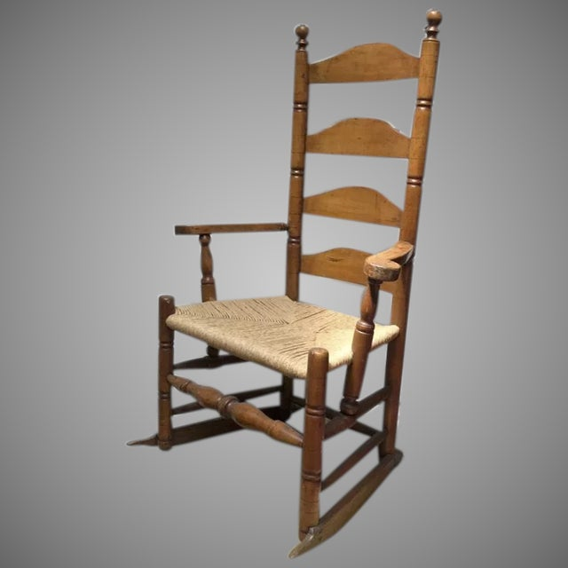 Tan New England American Four Ladder Back Maple Chair Maple 18th Century Rocker For Sale - Image 8 of 8