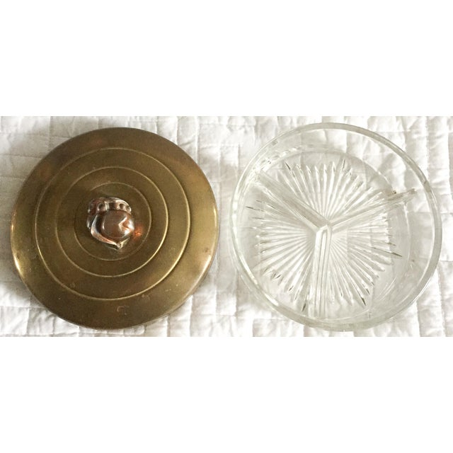 1930s Glass & Brass Covered Trinket Dish - Image 5 of 5