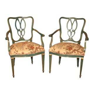 Mid-Century Italian Emerald Green Painted Armchairs - a Pair For Sale