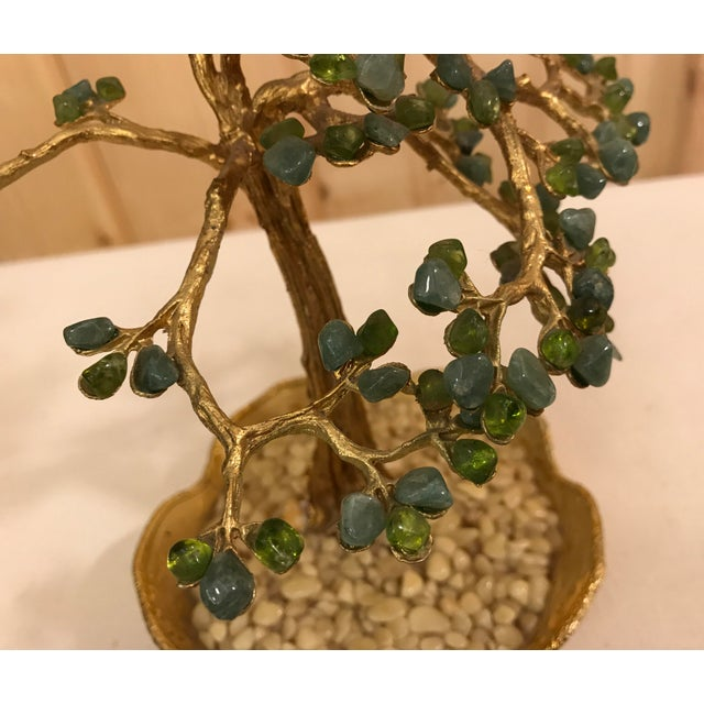 Mid-Century Modern Agate Bonsai Tree in Gold Dish - Image 9 of 10