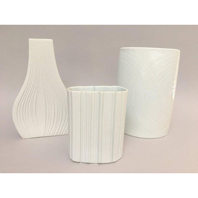 Modernist White Bisque Porcelain Naaman Ridged Vase For Sale - Image 9 of 10