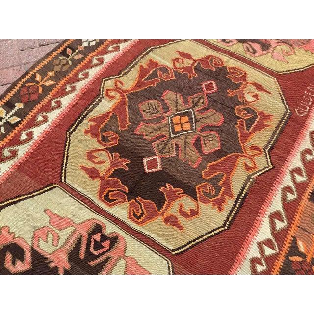Textile Vintage Turkish Kilim Rug For Sale - Image 7 of 11