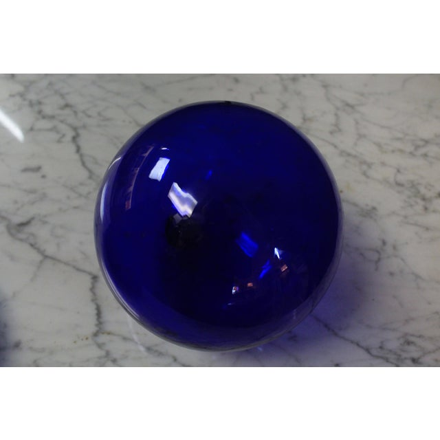 Mid 20th Century Cobalt Art Glass Ball For Sale - Image 5 of 6