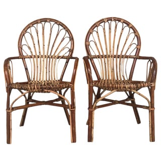 Midcentury of Bamboo and Wicker Armchairs in Franco Albini Style, Italy, 1960s For Sale