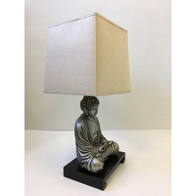 Metal Silver and Black Lacquered Buddha Table Lamp For Sale - Image 7 of 10