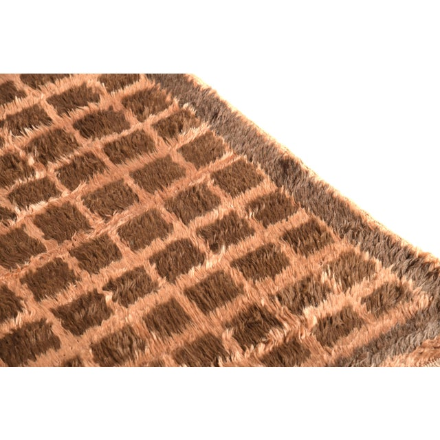 Shabby Chic Hand Knotted Vintage Tulu Rug Beige Brown Shag Pile Geometric Pattern For Sale - Image 3 of 6