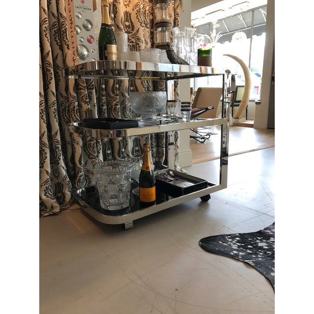 Art Deco Chrome & Smoked Glass Bar Cart - Image 5 of 5