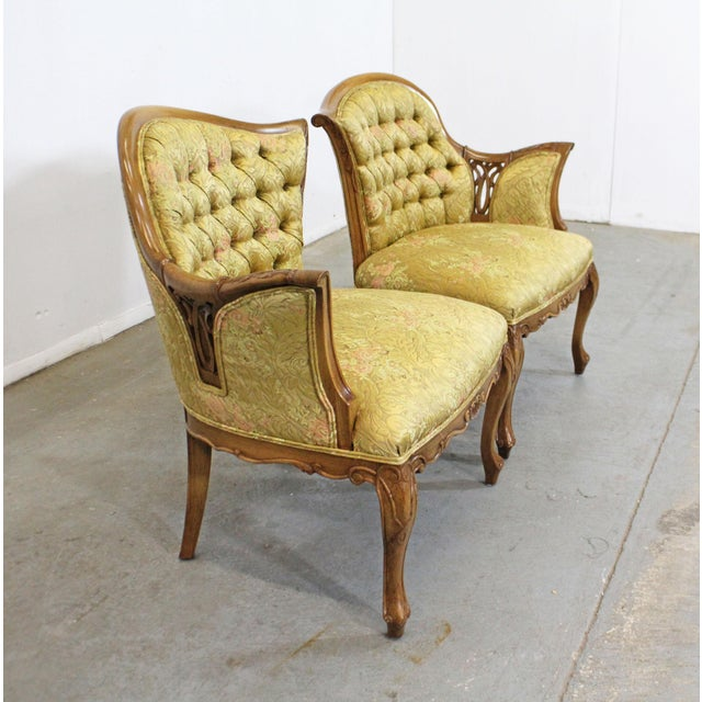 French Pair of Vintage French Tufted Fireside Ladies Parlor Arm Chairs For Sale - Image 3 of 13