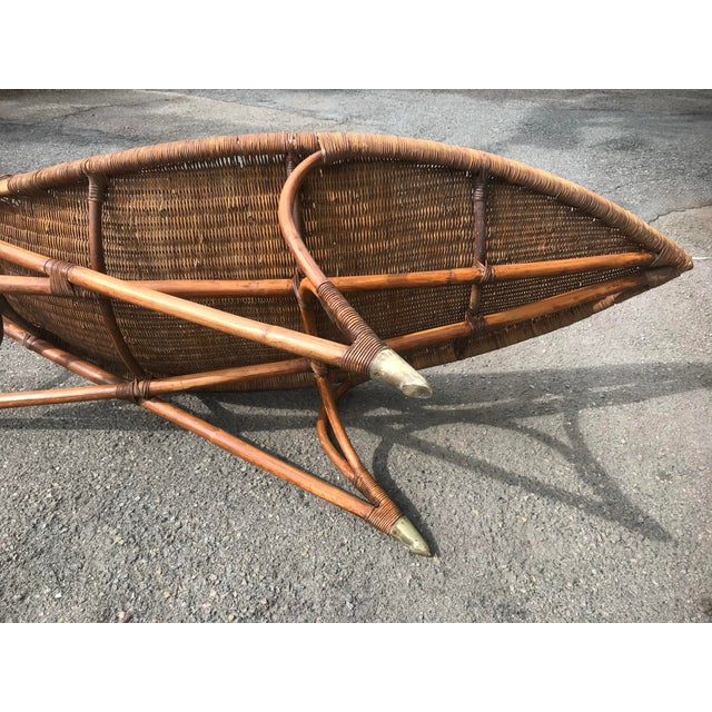 1930s 1930s Lina Zervudachi for Elsa Schiaparelli Rattan Bamboo and Brass Wicker Fish Chaise Lounge Chair For Sale - Image 5 of 13