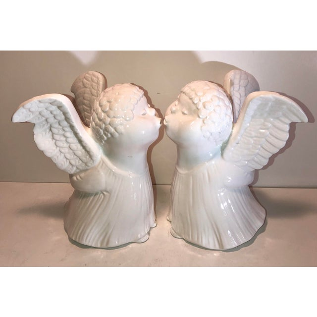 Fitz and Floyd Kissing Angel Cherubs Porcelain Candle Holders - Set of 2 Holiday Centerpiece Decor For Sale - Image 11 of 11