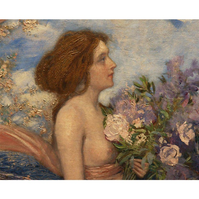 "Art Nouveau Painting by Alexander Goltz, ""Fruhling"" For Sale - Image 4 of 8"