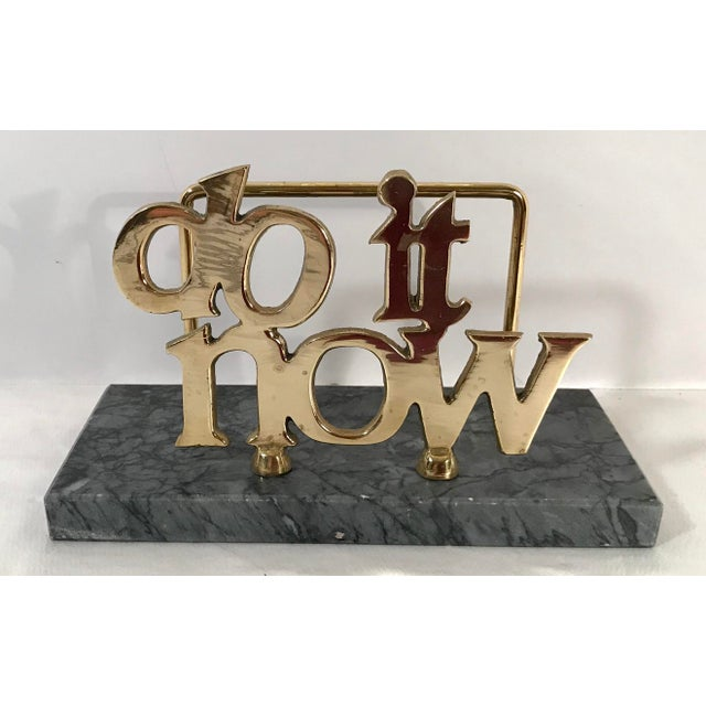 "Brass Mid-Century ""Do It Now"" Brass & Marble Letter Holder For Sale - Image 7 of 7"