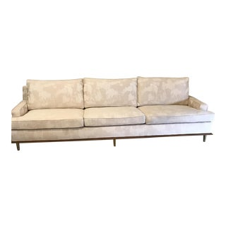 Mid-Century Sofa With Brass Legs For Sale