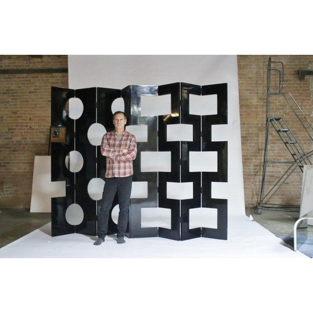 Modernist Black Lacquered Wood Room Divider For Sale In Chicago - Image 6 of 7