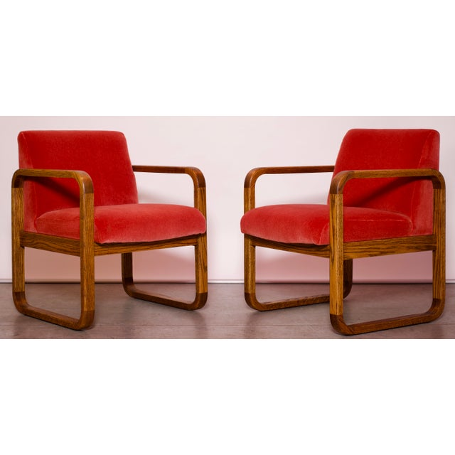 1970s Mid-Century Modern Crimson Mohair Accent Chairs - a Pair For Sale In Miami - Image 6 of 13