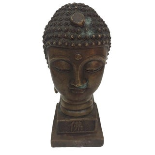 Vintage Brass Buddha Head Statue Tibetan Seal Stamp For Sale