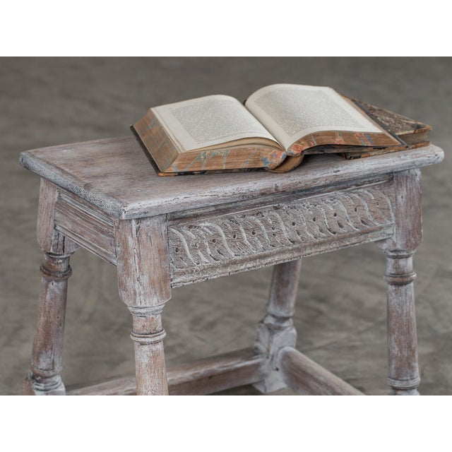Antique English Limed Oak Joint Stool circa 1890 For Sale - Image 4 of 11