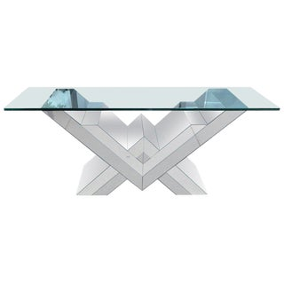 Pierre Cardin Style Smoked and Clear Mirrored Console Table For Sale
