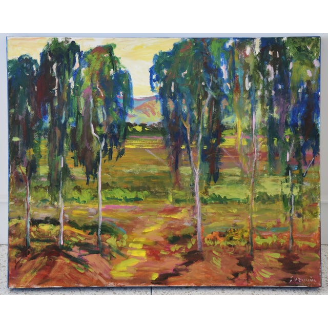 Vibrant Santa Barbara grove of eucalyptus trees colorful plein air landscape abstract oil painting on canvas by California...