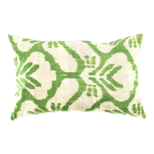 Pasargad Turkish Green Color Silk Ikat Pillow (Ti 188) For Sale
