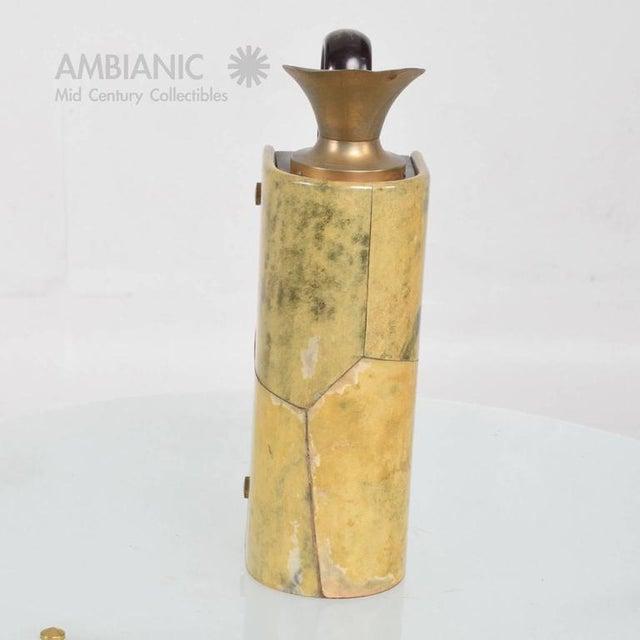Animal Skin Aldo Tura Wood & Brass Pitcher For Sale - Image 7 of 10
