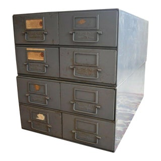 Record Files Inc. 4 Drawer Steel Gray Metal File Cabinet For Sale