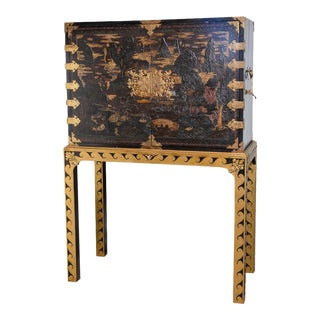 Chinese lacquered cabinet on stand For Sale