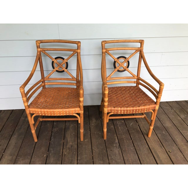 McGuire Rattan Rawhide Target Chairs- Set of 6 For Sale - Image 11 of 13