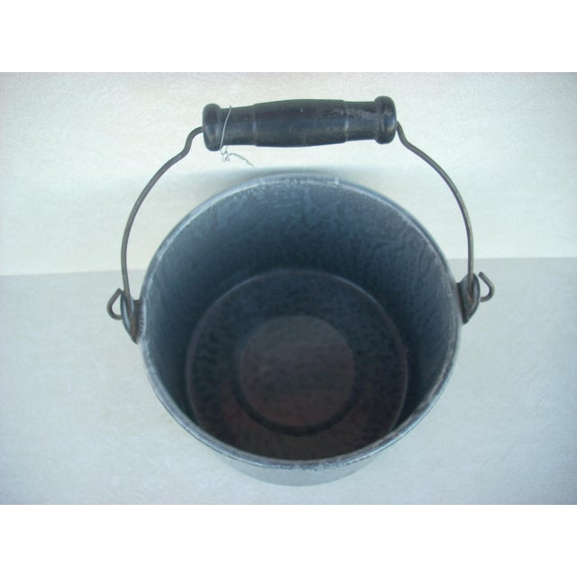 Cabin Vintage Medium Gray Graniteware Pail For Sale - Image 3 of 3