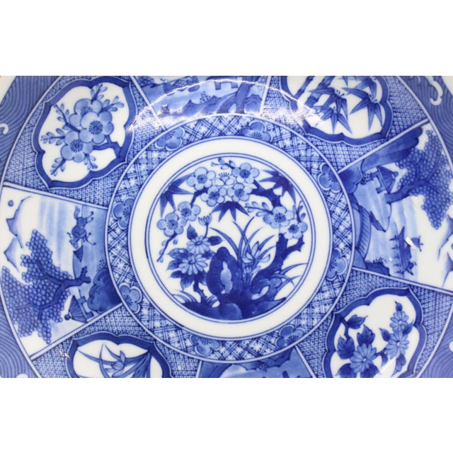 Japanese Japanese Pictorial Blue & White Imari Painted Decorative Plate, Artist Signed For Sale - Image 3 of 8