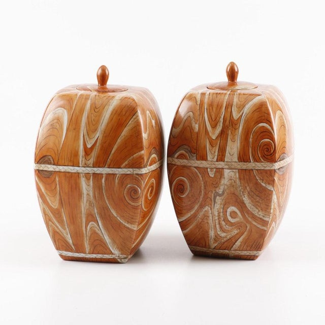 Early 20th Century Late 19th to Early 20th Century Chinese Faux-Bois Lidded Jars With Apocryphal Yongzheng Reign Marks - a Pair For Sale - Image 5 of 7